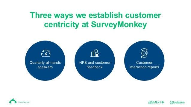 19 Three ways we establish customer centricity at SurveyMonkey Quarterly all-hands speakers NPS and customer feedback Cust...