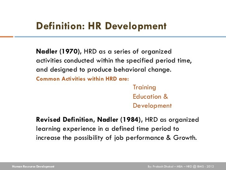 objectives of human resource development