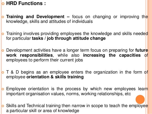Structure of the Training and Development Function