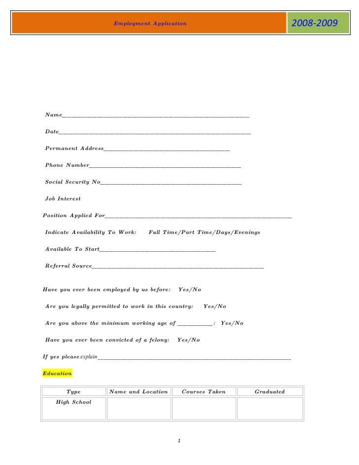Employment Application                                            2008-2009     Name_____________________________________ ...