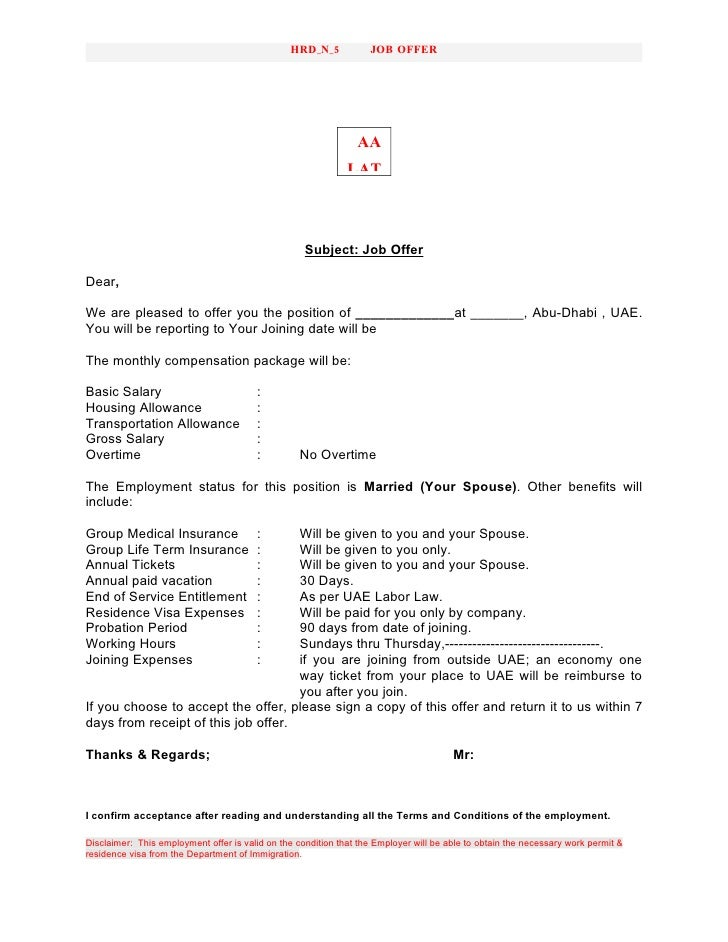 Hrd No 5 Offer Letter Sample – Sample Offer Letters