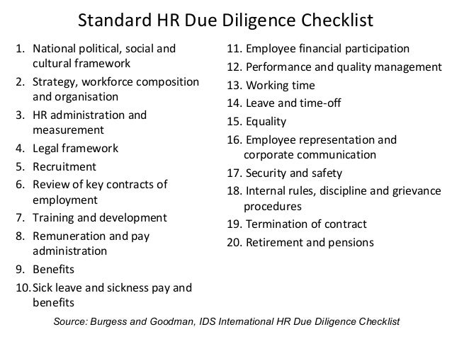 legal due diligence report template - hr due diligence