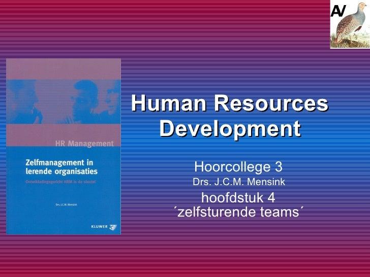 Human Resources Development Hoorcollege 3  Drs. J.C.M. Mensink  hoofdstuk 4  ´zelfsturende teams´