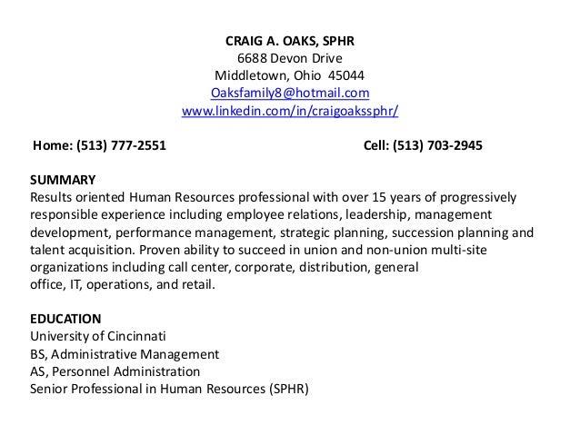 sample hr executive resumes
