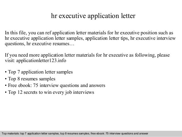 Hr Executive Application Letter In This File, You Can Ref Application Letter  Materials For Hr ...