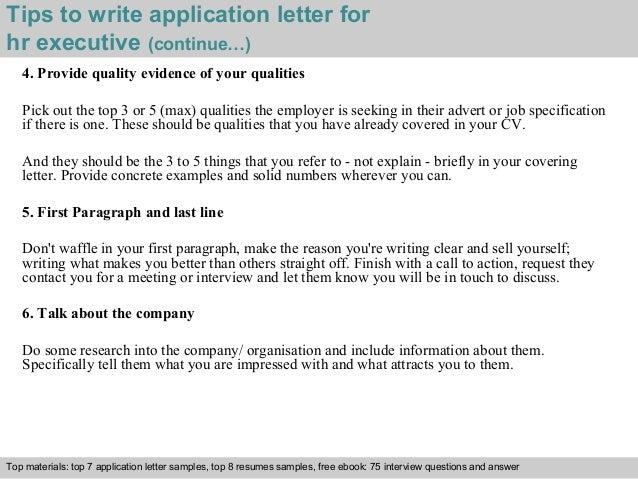 hr executive application letter
