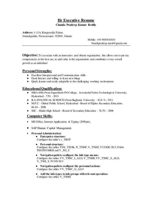 Hr Executive Resume