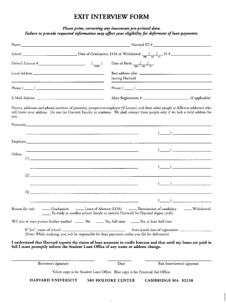 employment exit interview form