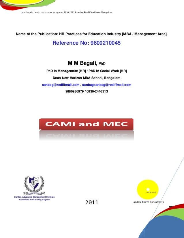 mm bagali / cami - ahrb – mec program / 2010-2011 / sanbag@rediffmail.com / bangalorePage1Name of the Publication: HR Prac...