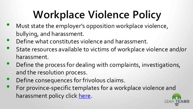 Example of a workplace harassment policy.