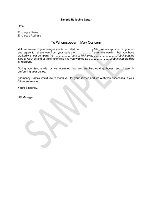 Sample Relieving Letter Date Employee Name Employee Address To Whomsoever  It May Concern With Reference To