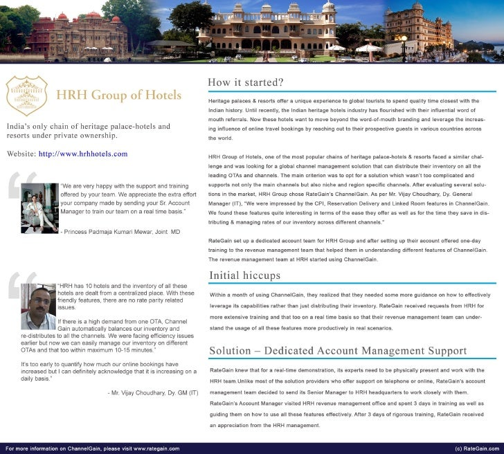 Case Study- How RateGain's Channel Management Solution helped HRH Group of Hotels