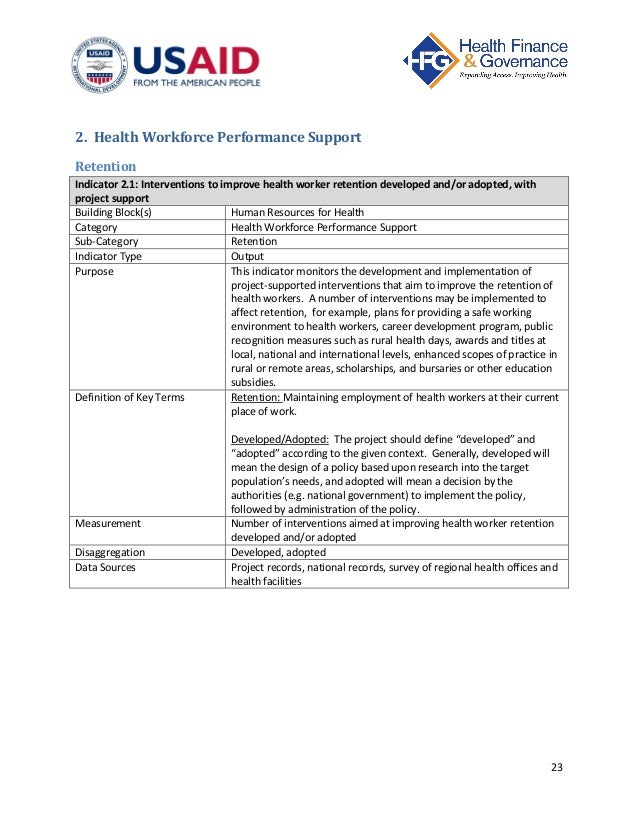 human resources for health indicators reference sheet