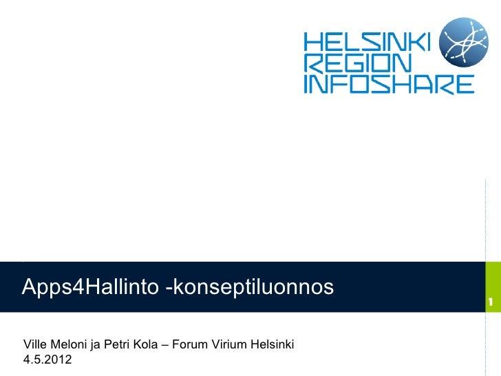 Apps4Hallinto -konseptiluonnos                                                     1Ville Meloni ja Petri Kola – Forum Vir...