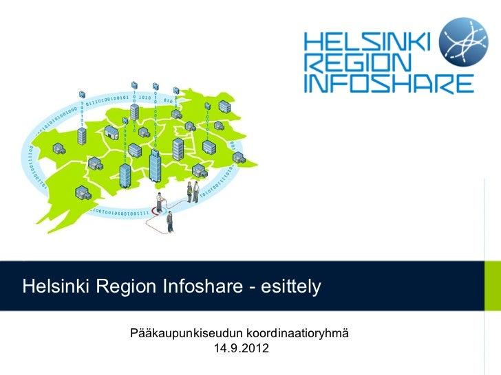 Helsinki Region Infoshare - esittely            Pääkaupunkiseudun koordinaatioryhmä                         14.9.2012