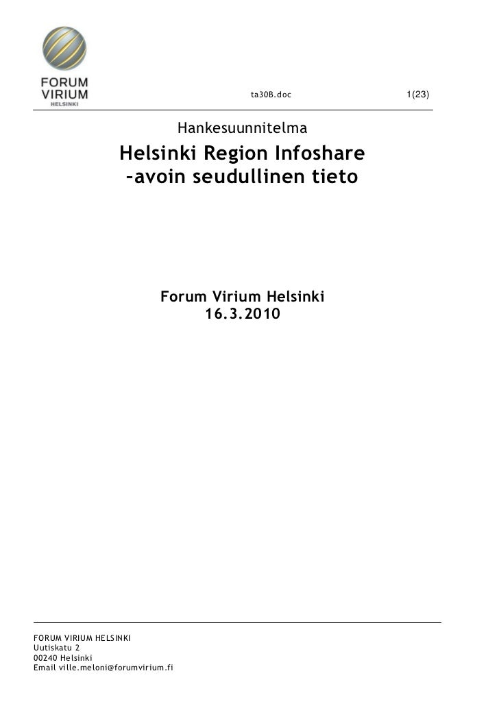 ta30B.doc   1(23)                                    Hankesuunnitelma                    Helsinki Region Infoshare        ...