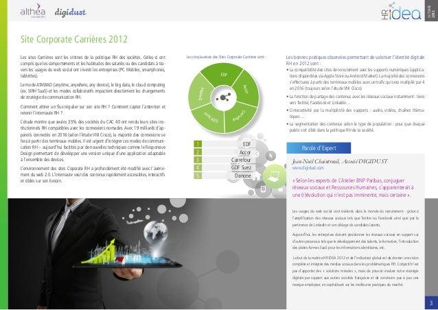 OCTOBRE2012Les sites Carrières sont les vitrines de la politique RH des sociétés. Celles-ci ontcompris que les comportemen...