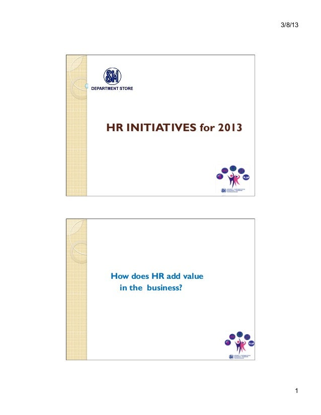 3/8/13HR INITIATIVES for 2013                        beoHow does HR add value in the business?                            ...