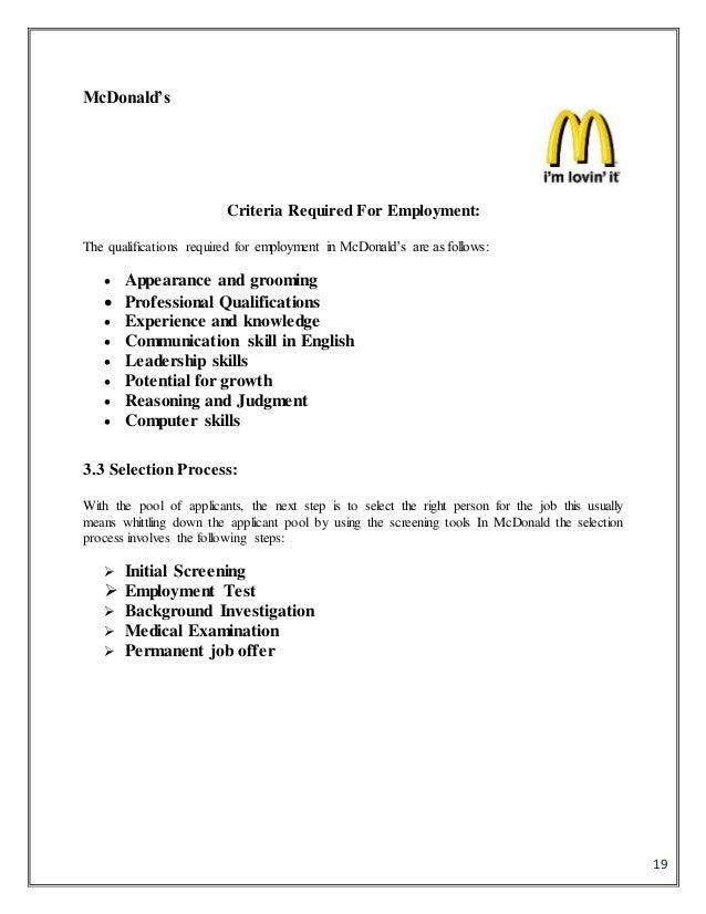 Job design in McDonald Essay Sample