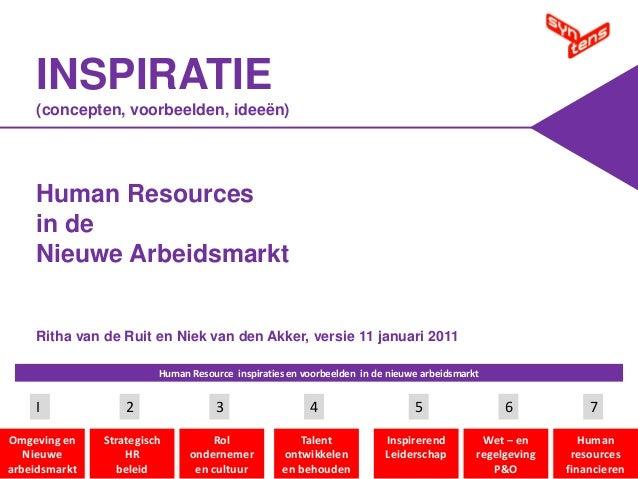 INSPIRATIE (concepten, voorbeelden, ideeën)  Human Resources in de Nieuwe Arbeidsmarkt  Ritha van de Ruit en Niek van den ...