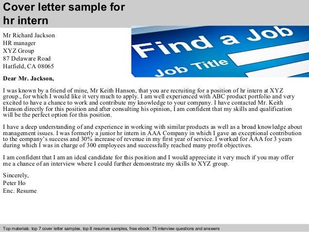 Superb Cover Letter Sample For Hr Intern ...
