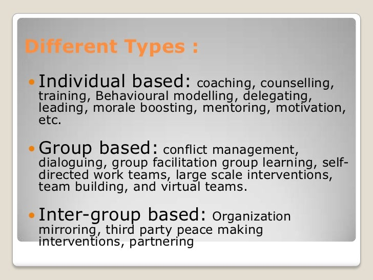 Human Process Intervention   T-Groups   Process Consultation   Intergroup activities / Relationships   Team Building