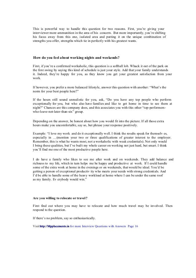 High Quality ... Interview Questions With Answers Page 16 Http://Mpplacements.in; 17. If You  Do ...