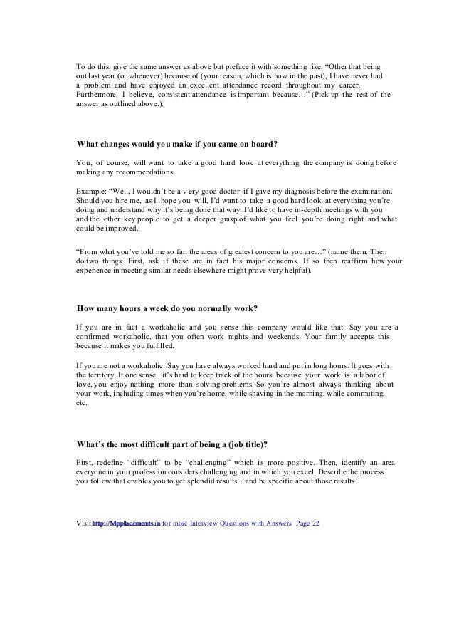 Perfect ... Interview Questions With Answers Page 22 Http://Mpplacements.in; 23.  Example: U201cI ...