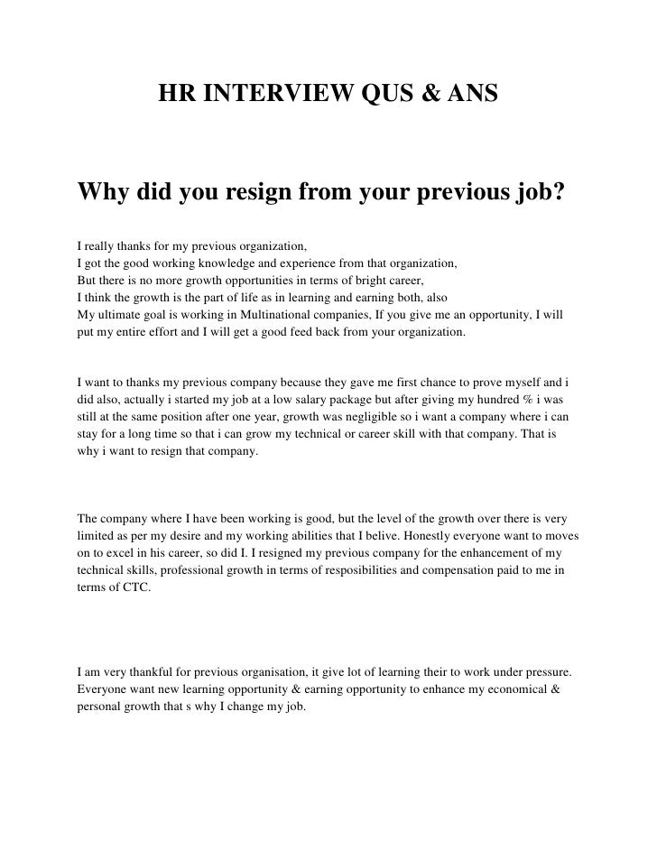 hr interview questions answers hr interview qus answhy did you resign from your previous job - Linux Administrator Interview Questions And Answers