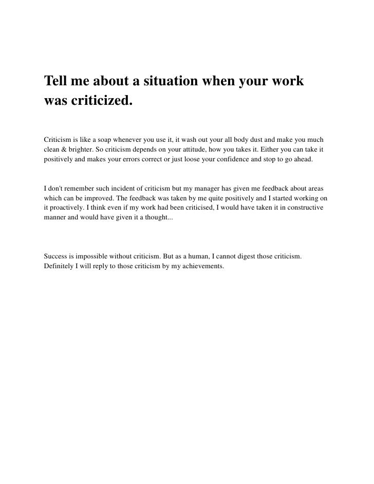 Interview Questions Tell Me About Situation Your Work Was Criticized