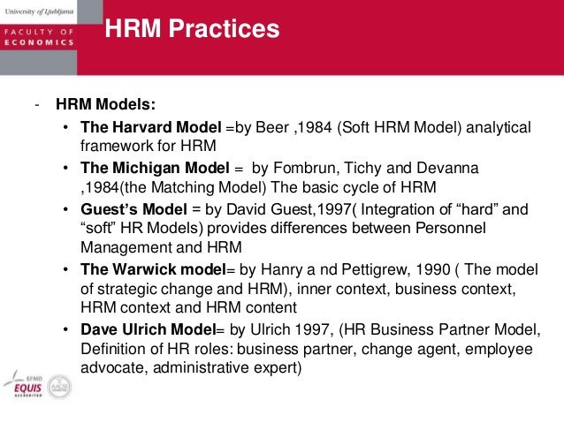 harvard framework model of hr