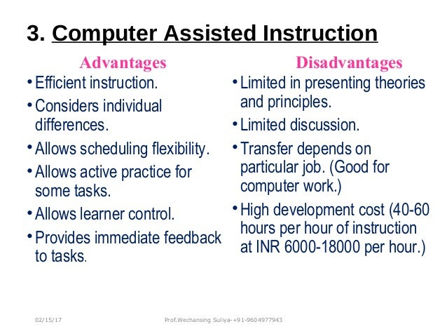 advantages and disadvantages of computer assisted instruction