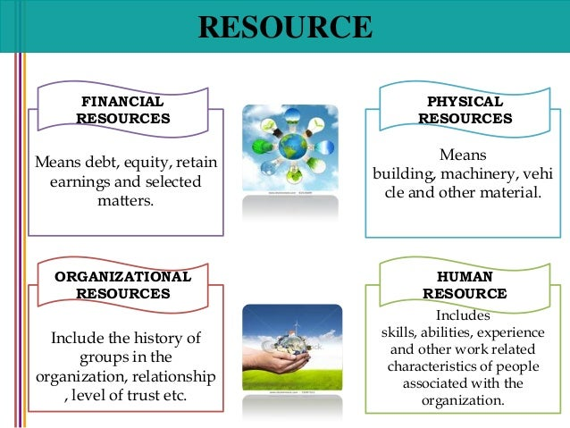 organization of people and resources Human resources represent one type of resources, respectively inputs into the production process.