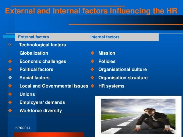 hr internal and external factors essay External environmental factors to develop and implement effective human resource strategies, you must first understand the environment context in which human resource operates the external environmental factors ie the step factors outlined below can have both positive and negative effects on this business.