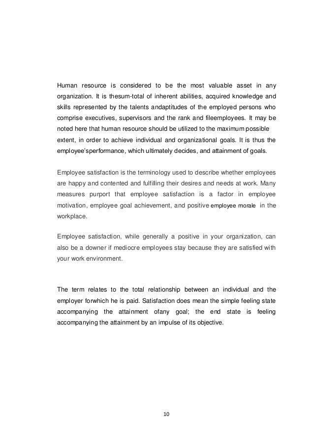 Employee satisfaction project report
