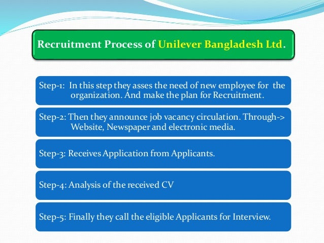 recruitment and selection process in unilever bangladesh limited Recruitment & selection of unilever in unilever bangladesh as a human recruitment & selection 6 21 recruitment 6 211 recruitment process.