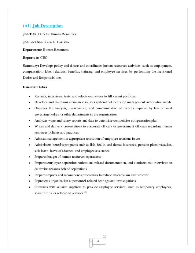 Human Resource Management Job Description. Job Description For