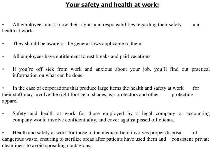 health and safety task 1 Health and safety of people at work and those affected by work activities including those who receive care and support any task you do whilst at work,.