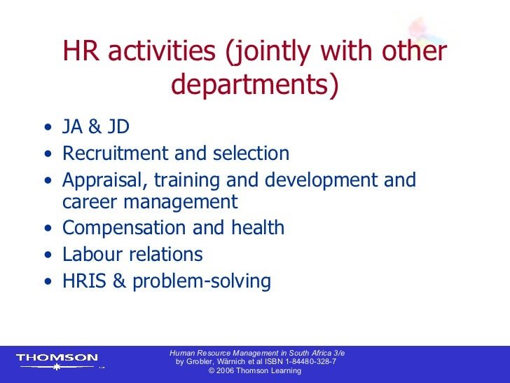 hrm in south africa Human resource management is the process of hiring and developing  employees within an organisational  south african board for people practices.