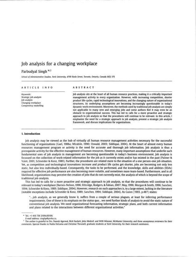 Job Analysis at Comp Tech   HRM