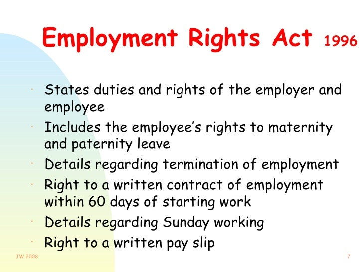 employment rights act A quick guide to the employment rights act provides an overview of the contents of the era click to download the employment rights act, 2012-9  the following is a 3 part series that seeks to explain the impact of the era.