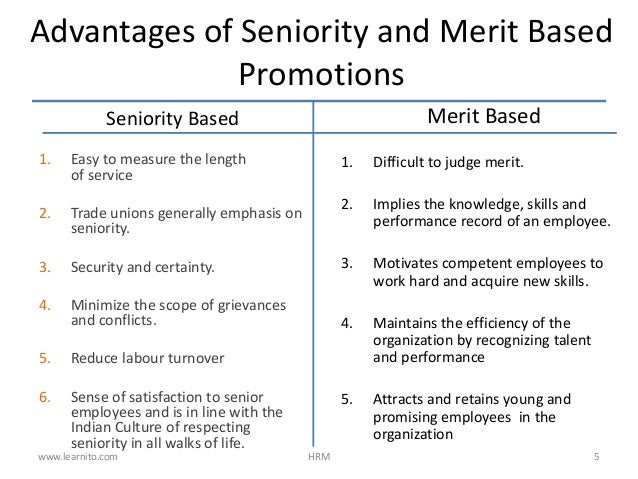 promotion performance vs seniority View notes - performance vs seniority from bussiness 105 at lyceum of the philippines university seniority is nothing but the experience of an employee working in a particular company.