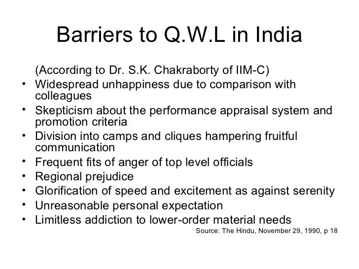 Barriers to Q.W.L in India <ul><li>(According to Dr. S.K. Chakraborty of IIM-C) </li></ul><ul><li>Widespread unhappiness d...