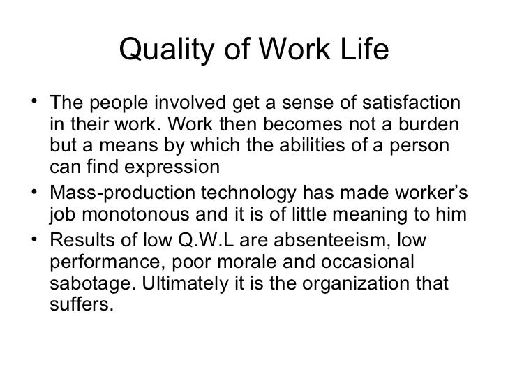 quality of worklife