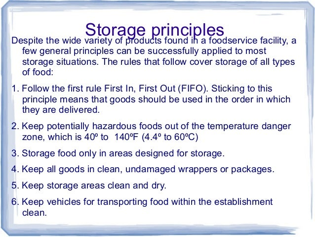 Restaurant Food Storage Rules
