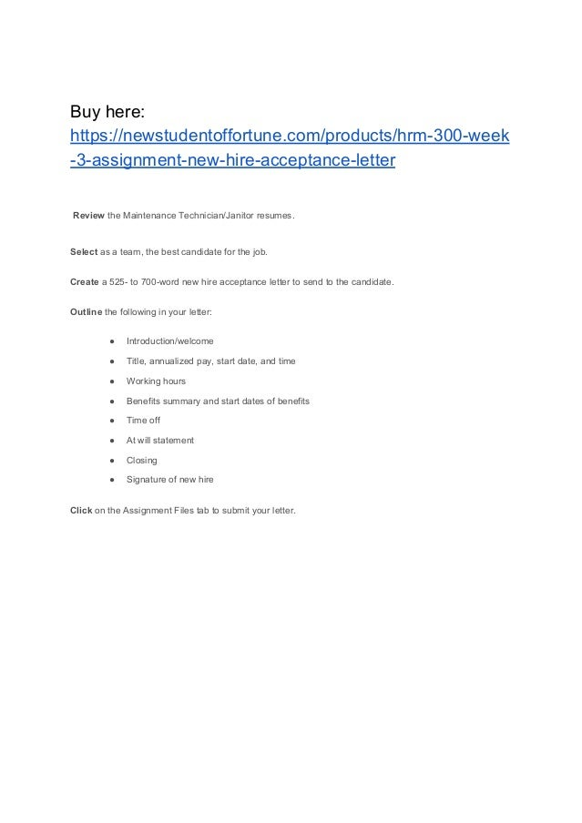 HRM 300 Week 3 Assignment New Hire Acceptance Letter