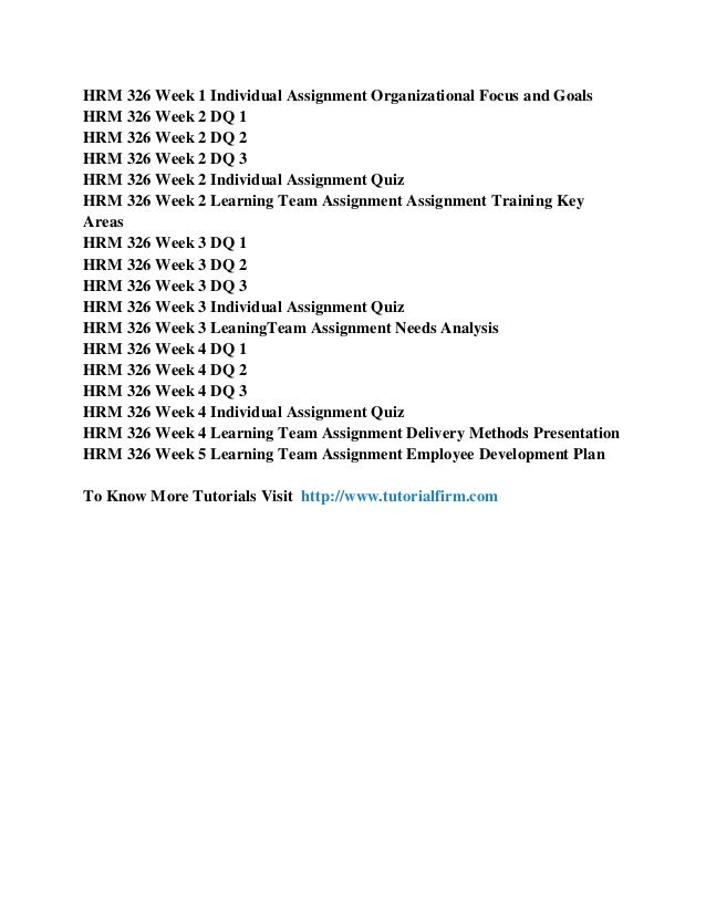 HRM 326 Assignments and DQs