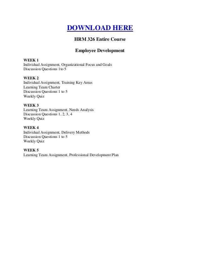HRM 326 WEEK 1 Organizational Focus and Goals
