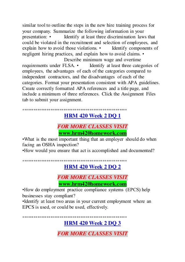 hrm 240 week 3 selection tools assignment