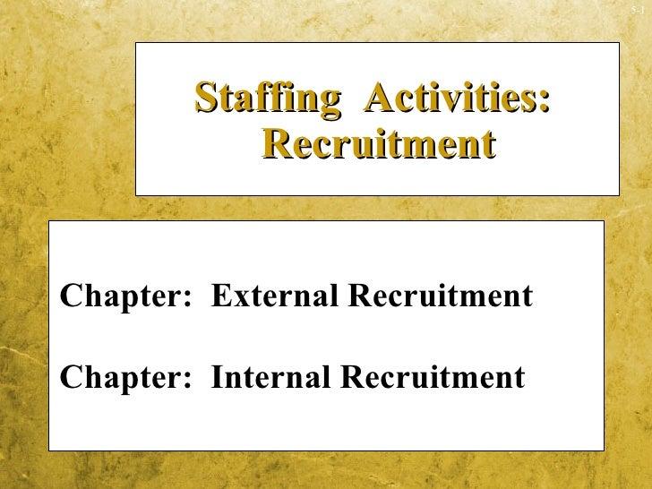 <ul><li>Chapter:  External Recruitment </li></ul><ul><li>Chapter:  Internal Recruitment </li></ul>Staffing  Activities:  R...